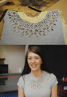 Coco DIY T- Shirt Redesign Ideas (part 2)--DIY T- Shirt Redesign : shredded / laser-cutting (cut out)