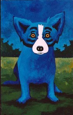 blue dog with yellow eyes - Born and raised in New Iberia, Louisiana, artist George Rodrigue (b. is best known for his Blue Dog paintings , which catapulted him to worldwide fame in the early Blue Dog Painting, Buffalo Painting, Blue Dog Art, Blue Art, Louisiana Art, 3rd Grade Art, Dog Years, Dog Paintings, Chalk Art