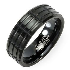 Tungsten Carbide Men's Ladies Unisex Ring Wedding Band 8MM (5/16 inch) Black Plating Grooved Comfort Fit (Available in Sizes 8 to 12) DazzlingRock Collection. $14.99. Unisex Ring. 8mm wide. Stamped Tungsten Carbide. Get most bang for your buck