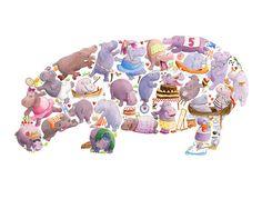 H est pour Hippo  enfants Art Print signé par LouTateIllustration