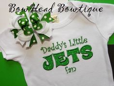 Daddy's Little JETS Fan New York Jets by BowHeadBowtiqueInc, $28.00
