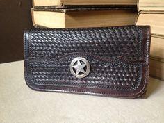 Vtg Brown Tooled Leather & Silver Star Wallet by JansVintageStuff, $68.00