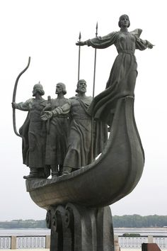 "Monument to the Founders of Kiev - According to legend, Kiev was founded by three brothers - Kyi, Schek, Khoryv and their sister Lybid in 5th century A.D. and the city of ""Kyiv"" was named after the eldest brother 