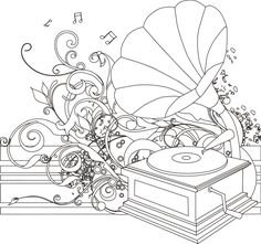 Gramophone coloring page I Blanco Designs Music Drawings, Music Artwork, Coloring Book Pages, Printable Coloring Pages, Music Symbols, Butterfly Template, Flower Embroidery Designs, Applique Patterns, Easy Paintings