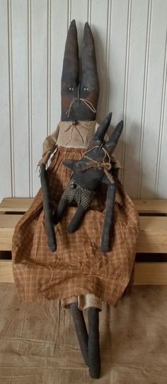 Primitive Grungy Mrs. Rabbit Doll & Her Baby Bunny #NaivePrimitive
