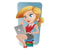 → Freebie - Vector Business Girl with Laptop