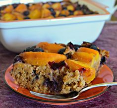 Sweet, juicy peaches and blueberries come together beautifully in this Peach Baked Oatmeal with Blueberries. A delicious & healthy breakfast.