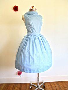 Sz. L, 50s 60s Day Dress Blue Cowl Neck Cotton Full Skirt Summer Sleeveless