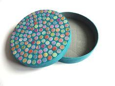 Round Wooden Jewelry Box Painted Daisyxjewels