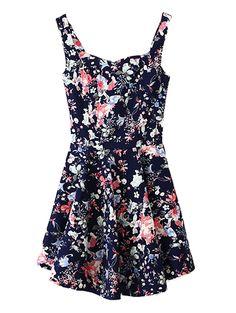 Sexy floral printed sleeveless high waist dress MS-P1309