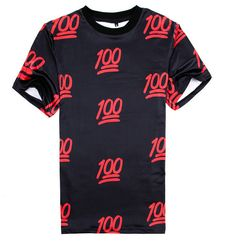 100! Emoji T-Shirt (Black/Red)