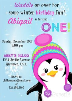 Waddle on over and check out our Custom Printable PENGUIN Birthday Invitation by PinkPeaPaperie, $8.00