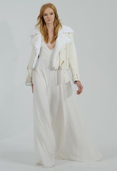 V-neck Wedding Dress with Leather Jacket | Houghton Bride Fall/Winter 2015 | Blog.theknot.com