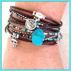 Boho Chic Leather Hamsa Wrap Bracelet with Silver by DesignsbyNoa, $36.00 multi-strand with toggle clasp
