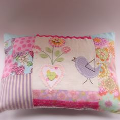 Roxy Creations: Patchwork cushion bird and hearts