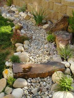 50 Diy Dry Creek Landscaping Ideas With Pictures! - - Images and ideas for backyard landscaping and do it yourself projects to easily create dry creek and river bed designs that dress up your property. Water Wise Landscaping, River Rock Landscaping, Landscaping With Rocks, Front Yard Landscaping, Backyard Landscaping, Landscaping Ideas, Backyard Ideas, Florida Landscaping, Sloped Backyard