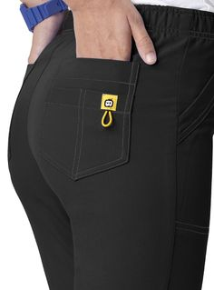 Ladies fit scrub pants with #bungee cord that can be used for #ID too on back pocket by #Wonderwink #uniforms