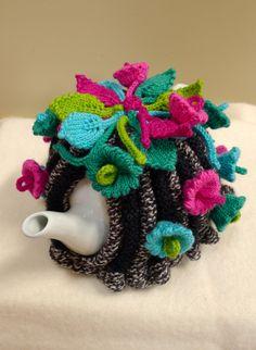 Flowers of the Moon Tea Cosy Knitting pattern by Jenny Occleshaw Tea Cosy Knitting Pattern, Knitting Patterns, Crochet Patterns, Knitted Tea Cosies, Teapot Cover, Crochet Kitchen, Tea Cozy, Flower Tea, Tea Art