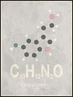 Grey and Pink Happiness Molecule Poster