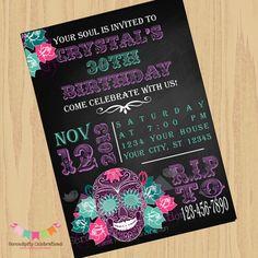 DIY Digital Sugar Skull Invitation Dia de by SerendipityPrintable, $15.00