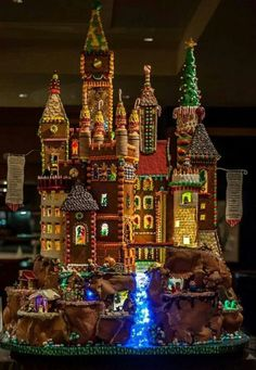 """Sheraton Seattle Gingerbread Village Presents """"Once Upon A Time"""" - holiday archite-cheer - Curbed Seattle Gingerbread Castle, Cool Gingerbread Houses, Gingerbread House Designs, Christmas Gingerbread House, Christmas Treats, Christmas Baking, All Things Christmas, Gingerbread Cookies, Christmas Cookies"""