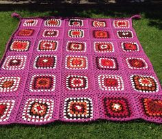 Lovely Pink Retro '70's style Granny Square Afghan by woollythings