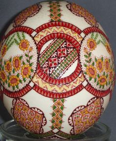 pyansky ostrich egg with raised sunflowers
