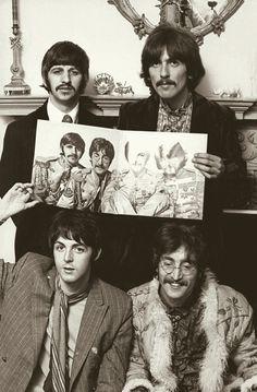 Beatles: Richard Starkey, George Harrison, Paul McCartney, and John Lennon (Sgt… John Lennon, Beatles Love, Beatles Photos, Beatles Art, Psychedelic Rock, Ringo Starr, George Harrison, Great Bands, Cool Bands