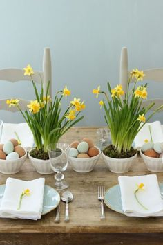 Daffodils and Easter Eggs:  Entertaining expert Jenny Steffens Hobick whipped up this charming Easter brunch table for under $23!