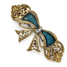 1928 Jewelry - Gold-tone Blue Crystal & Blue Enamel Bow Hair Barrette (€17) ❤ liked on Polyvore featuring accessories, hair accessories, blue hair clip, bow hair accessories, bow hair clips, barrette hair clips and hair clip accessories
