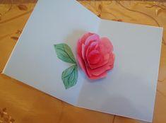 hand crafted pop-up card inside . Pop Up Flower Cards, Pop Up Flowers, Pop Up Cards, Rose Petal Uses, Rose Petals, Diy Birthday Card, Origami, Diy 3d, 3d Rose