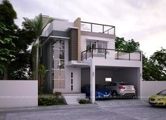 Modern Home Designs in Two Storey 10 Best Modern House Design, Latest House Designs, Small Modern Home, House Design Photos, New House Plans, Dream House Plans, House Floor Plans, 2 Storey House Design, House With Balcony