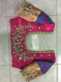 Sudhasri hemaswardrobe Cutwork Blouse Designs, Wedding Saree Blouse Designs, Best Blouse Designs, Simple Blouse Designs, Stylish Blouse Design, Blouse Patterns, Embroidery Works, Machine Embroidery Projects, Hand Embroidery Designs