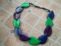 Navy Blue Purple Green Wooden Petal Necklace by debdavis153, $5.99