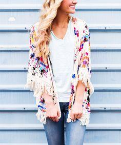 Look at this So Perla White Floral Fringe-Trim Kimono on #zulily today!