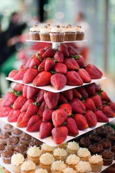 strawberries and mini cupcakes