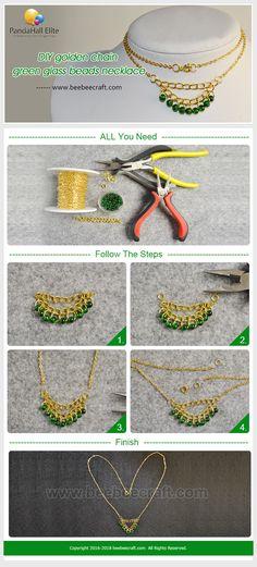 #Beebeecraft #DIY #goldenchain green #glassbeads #necklace