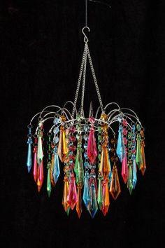 Rainbow Acrylic Ornaments Beaded Chandelier - That Bohemian Girl
