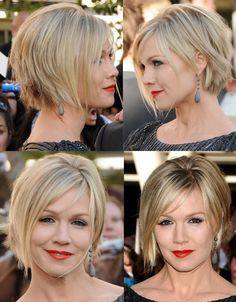 20 Layered Hairstyles for Short Hair Jennie Garth short hair cut & color. NICE, we love this look. Get it today. Short Natural Curls, Short Thin Hair, Short Hair With Layers, Short Hair Cuts, Short Hair For Round Face Plus Size, A Line Haircut Short, Short Blonde, Side Bangs Hairstyles, Short Bob Hairstyles