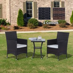 Outsunny Steel Frame 3 Piece Rattan Outdoor Garden Bistro (Set of 1 x Table, 2 x Chairs, Color: Brown) Outdoor Dining Furniture, Patio Furniture Sets, Rattan Furniture, Outdoor Decor, Bistro Set, Garden Table, Patio Chairs, Backyard Landscaping, Home And Garden