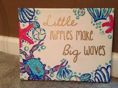 Big little sorority craft. Lilly inspired and hand painted :)
