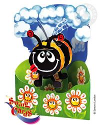 Bumble Bee - 3D Greeting Card has a multiplicity of moving parts that allow the objects in the center to swing back and forth.