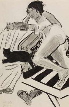 Joan Brown - Model with Cats, 1972  ink, charcoal, graphite.