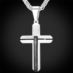 U7 Spanish Bible Verse Two Tone Necklace For Male /Female Stainless Steel Two Double Layer Christian Necklace Cross Jewelry P670