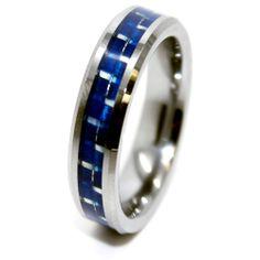 6mm Blue Carbon Fiber Tungsten