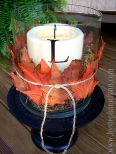 Under The Table and Dreaming: Pottery Barn Inspired Fall Leaf Hurricane Centerpiece