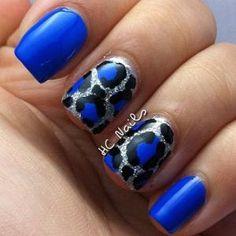 Leopard print in cherry black gold glitter nail art design