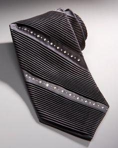 Metallic Silver Satin Bedazzled Neck Tie With Swarovski ...
