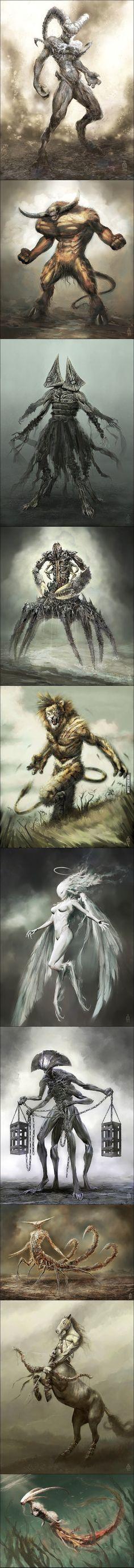 12 Zodiac Signs Reborn As Terrifying Monsters By Damon Hellandbrand 12 Zodiac, Zodiac Signs, Dark Fantasy, Fantasy Art, Angels And Demons, Creature Design, Mythical Creatures, Dark Art, Amazing Art