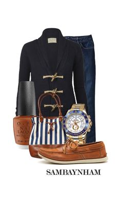 (I don't care for the nail polish color; I'd go with red) Nautical Outfits, Nautical Fashion, Nautical Clothing, Preppy Style, Style Me, Nautical Looks, Nautical Style, Blazers, Fashion Beauty